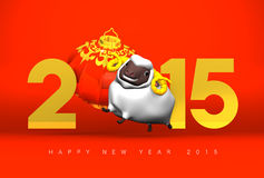 Smile White Sheep, New Year's Lantan, Greeting 2015 On Red. 3D render illustration For The Year Of The Sheep,2015 Stock Images