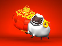 Smile White Sheep, New Year's Lantern On Red Background. 3D render illustration For The Year Of The Sheep,2015 Stock Image