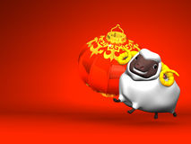 Smile White Sheep, New Year's Lantern On Red Text Space. 3D render illustration For The Year Of The Sheep,2015 Stock Photo
