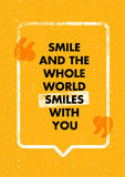 Smile And The Whole World Smiles With You. Positive Inspiring Creative Motivation Quote. Vector Typography Design Royalty Free Stock Photos