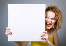 Smile woman with blank white board Royalty Free Stock Photos