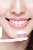Smile woman brush teeth Stock Image