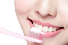 Smile woman brush teeth Stock Images