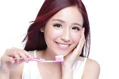 Smile woman brush teeth Royalty Free Stock Image