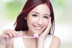 Smile woman brush teeth Stock Photos