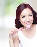 Smile woman brush teeth Royalty Free Stock Images