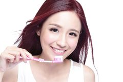 Smile woman brush teeth. Close up of Smile woman brush teeth. great for health dental care concept,  over white background. asian Royalty Free Stock Images