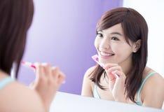 Smile woman brush teeth Royalty Free Stock Photos