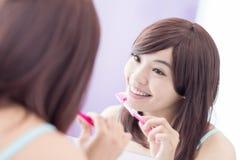 Smile woman brush teeth Royalty Free Stock Photography