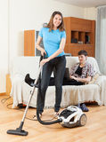 Smile woman cleaning Royalty Free Stock Images