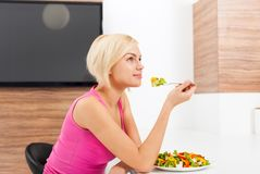 Smile woman healthy eating vegetable fresh salad Royalty Free Stock Photo