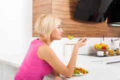Smile woman healthy eating vegetable fresh salad Royalty Free Stock Photo
