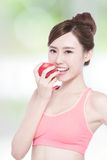Smile woman hold apple Royalty Free Stock Photography