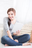 Smile woman hold digital tablet Royalty Free Stock Photography