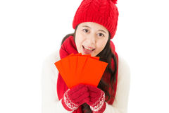 Smile woman holding lucky money in red envelope Royalty Free Stock Photography