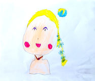 Smile woman kids drawing by crayon color Royalty Free Stock Photos