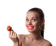 Smile woman offer your taste ripe cherry Royalty Free Stock Photography