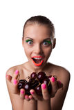 Smile woman offer your taste ripe cherry Royalty Free Stock Photos