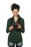 Smile woman photographer with camera Stock Photos