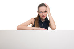 Smile woman portrait with blank white board Royalty Free Stock Photos