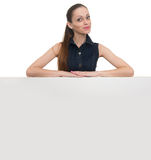 Smile woman portrait with blank white board Royalty Free Stock Photo