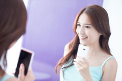 Smile woman take selfie. Beautiful smile happy woman smile and take selfie by mirror. asian beauty Stock Photo