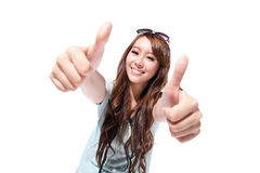 Smile woman tourist showing thumbs up Stock Photo