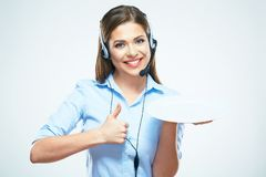 Smile woman worker helpline, call center operator hold white em stock photos