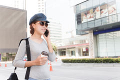Smile women talking cellphone urban lifestyle Royalty Free Stock Image