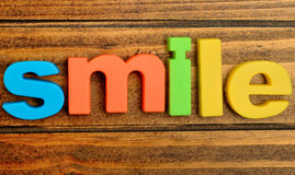 Smile word on table Stock Image