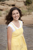 Smile yellow dress Royalty Free Stock Photo