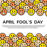 Smile Yellow Faces Fool Day April Holiday Greeting Card. Copy Space Vector Illustration stock illustration