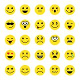 Set of line art round emoticons or emoji icons yellow. Smile yellow icons vector illustration isolated on white background. Concept for World Smile Day smiling Stock Image