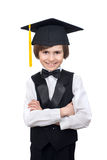 A smile young boy in collegiate cap Stock Photo
