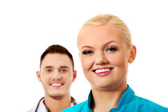 Smile young female and male doctors Royalty Free Stock Image