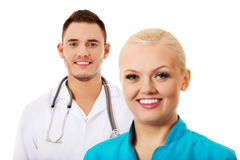 Smile young female and male doctors Stock Image