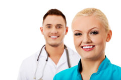 Smile young female and male doctors Stock Images