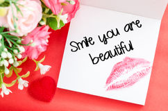 Smile your are beautiful message. Stock Photo