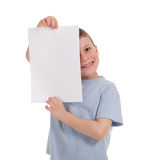 Smiled boy with blank paper Stock Photo
