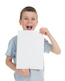 Smiled boy with blank sheet Stock Image