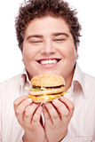 Smiled chubby and hamburger Stock Photo