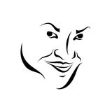 Smiled face girl sketch Stock Photos