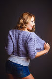 Smiled girl in violet jacket Stock Photography