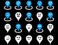 Smiled location icons Royalty Free Stock Image