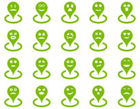 Smiled location icons Royalty Free Stock Images