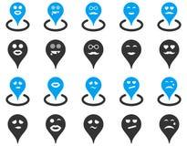 Smiled location icons Stock Photo