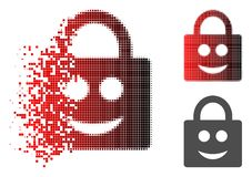 Decomposed Dot Halftone Smiled Lock Icon. Smiled lock icon in sparkle, dotted halftone and undamaged entire versions. Cells are grouped into vector sparkle stock illustration