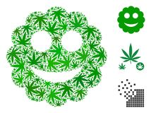 Smiled Sticker Collage of Marijuana. Leaves in different sizes and color shades. Vector flat marijuana elements are grouped into smiled sticker collage royalty free illustration