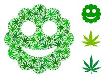 Smiled Sticker Composition of Cannabis. Smiled sticker composition of weed leaves in variable sizes and green tinges. Vector flat ganja leaves are organized into royalty free illustration