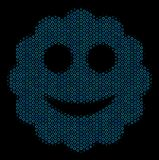 Smiled Sticker Composition Icon of Halftone Circles. Halftone Smiled sticker collage icon of circle elements in blue color hues on a black background. Vector royalty free illustration